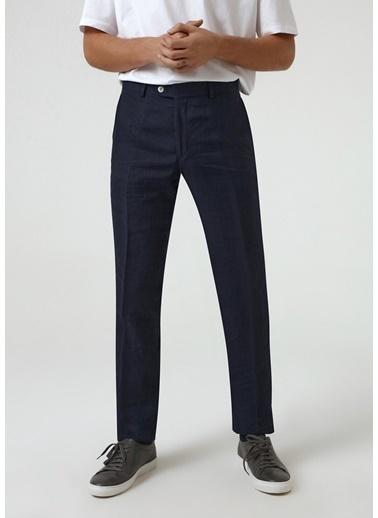 D'S Damat Slim Fit Armürlü Keten Kumaş Pantolon Lacivert